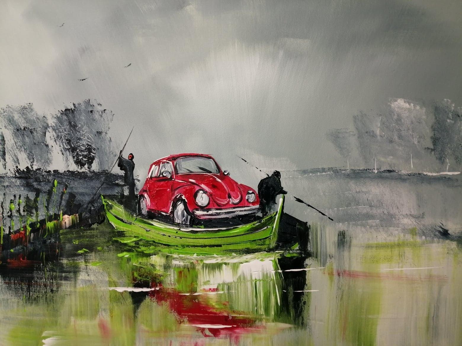 Transport d'une voiture en bacove dans le marais audomarois
