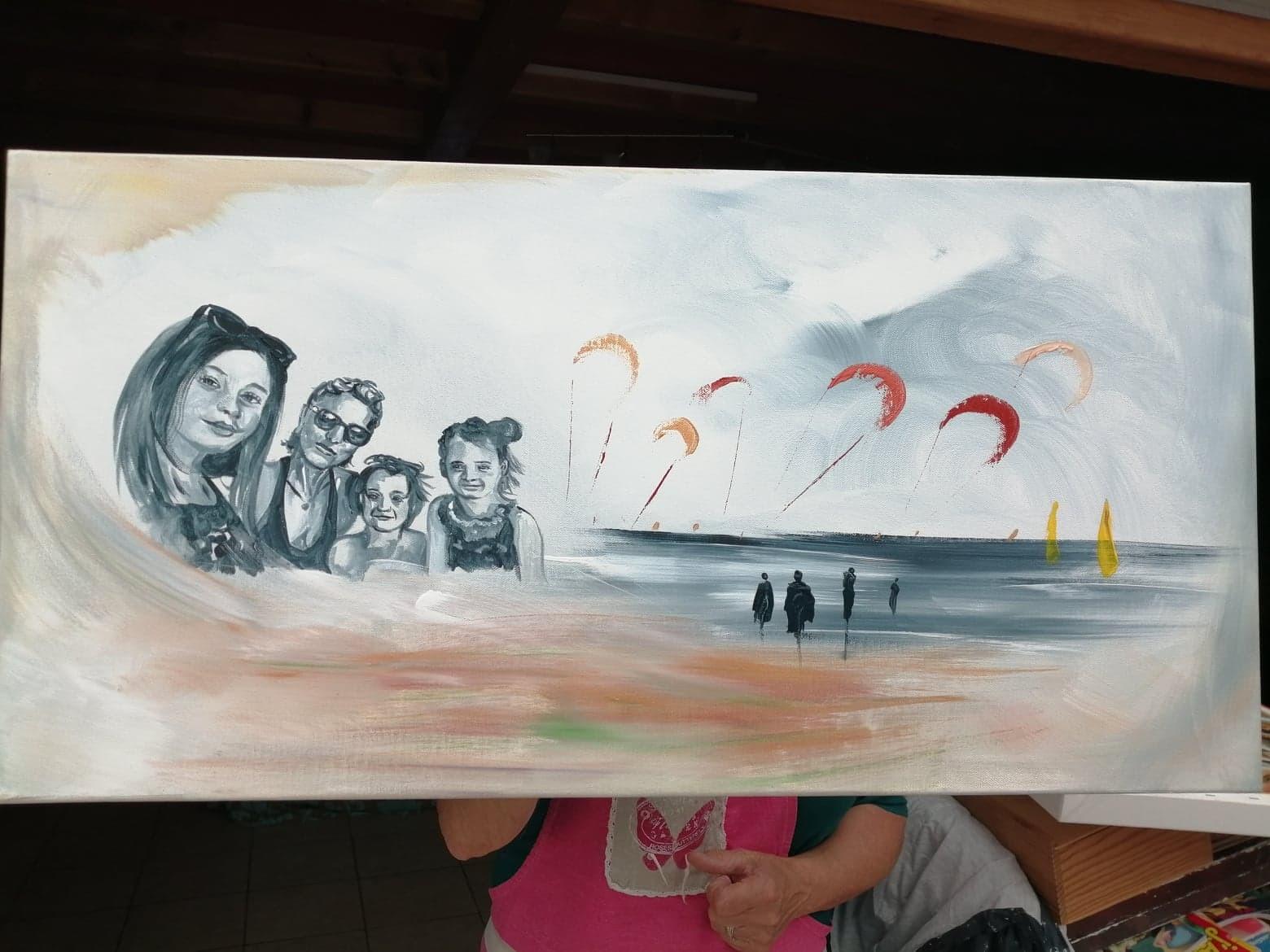 La petite famille à la plage