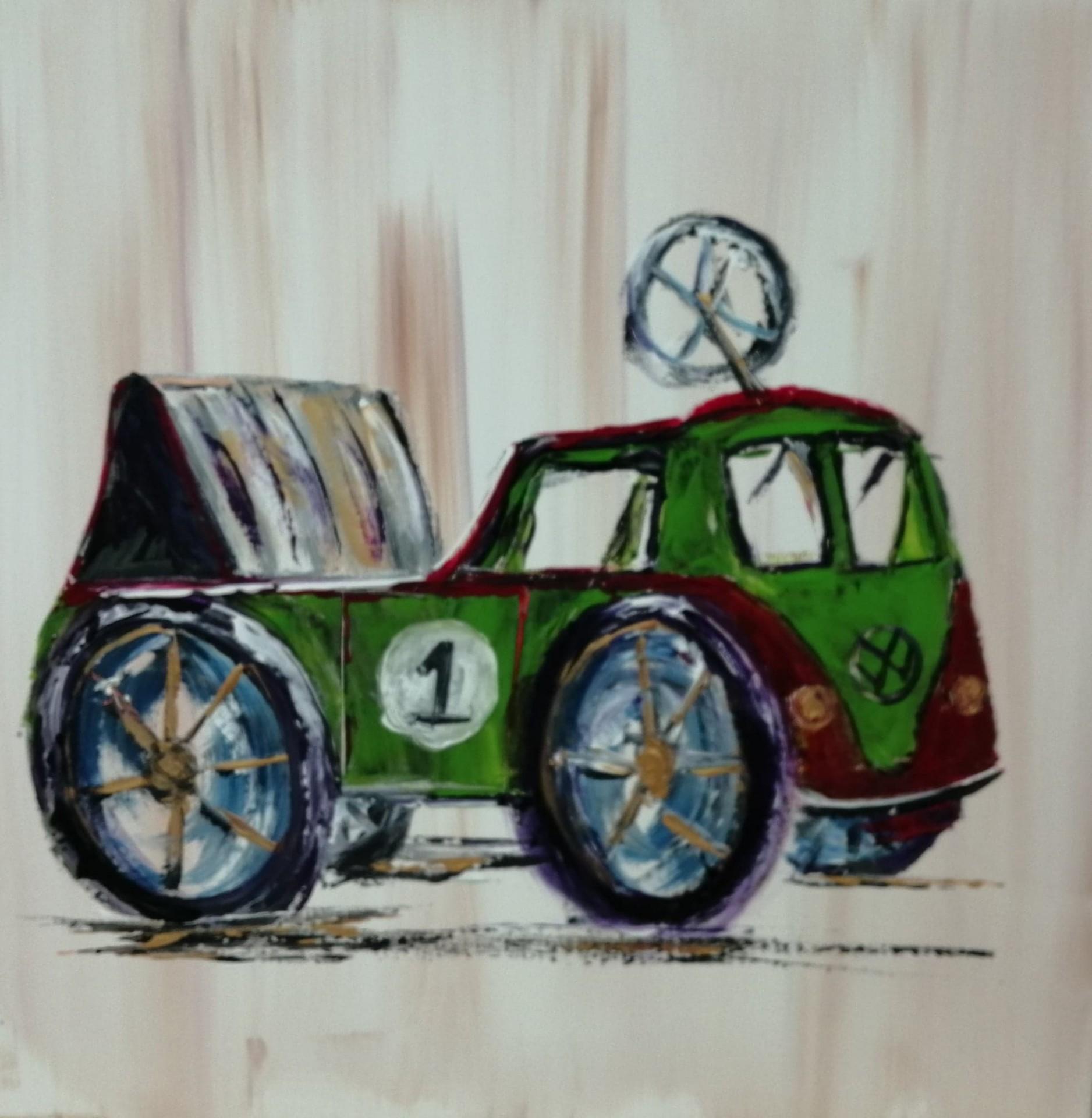 Combi vw voiture a pedales 50 x 50 cm 1
