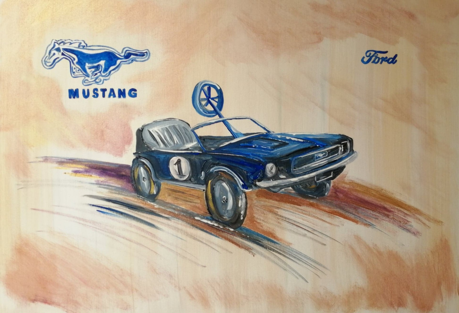 Ford mustang voiture a pedales 50 x 70 cm