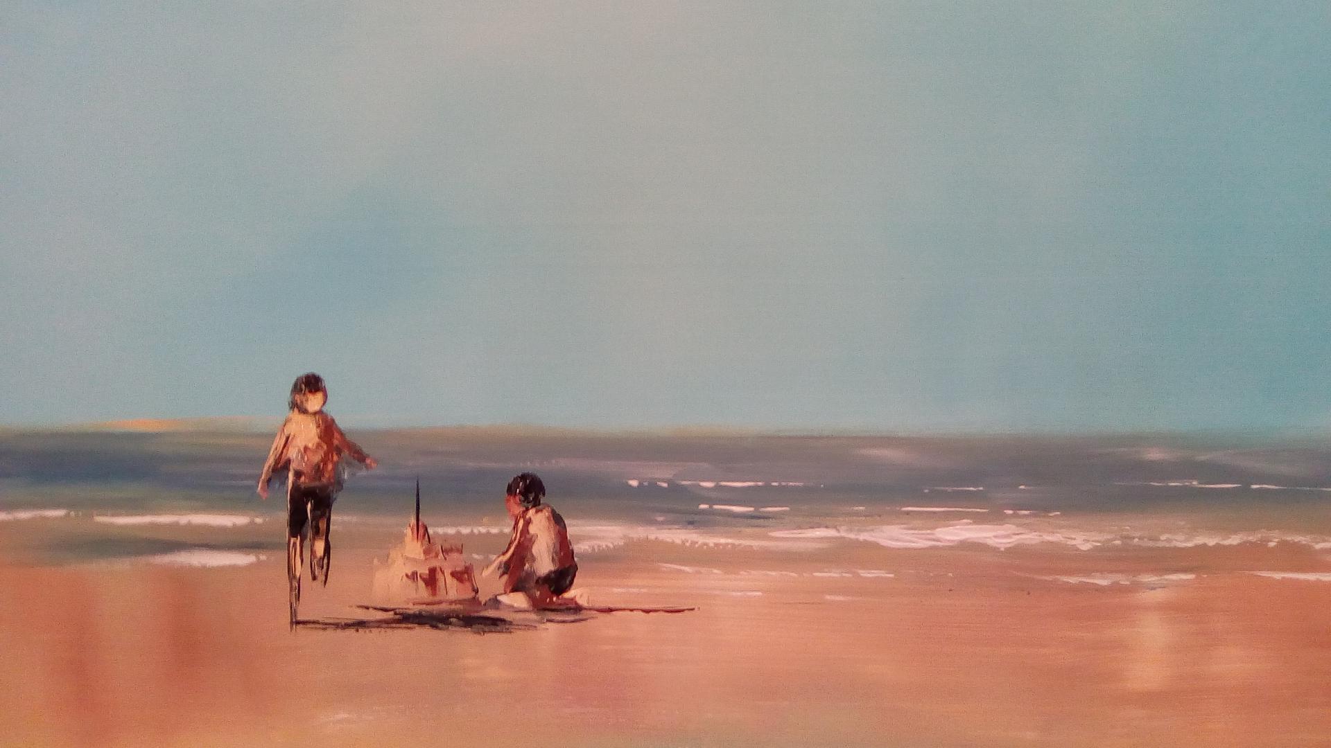 un château de sable sur la plage