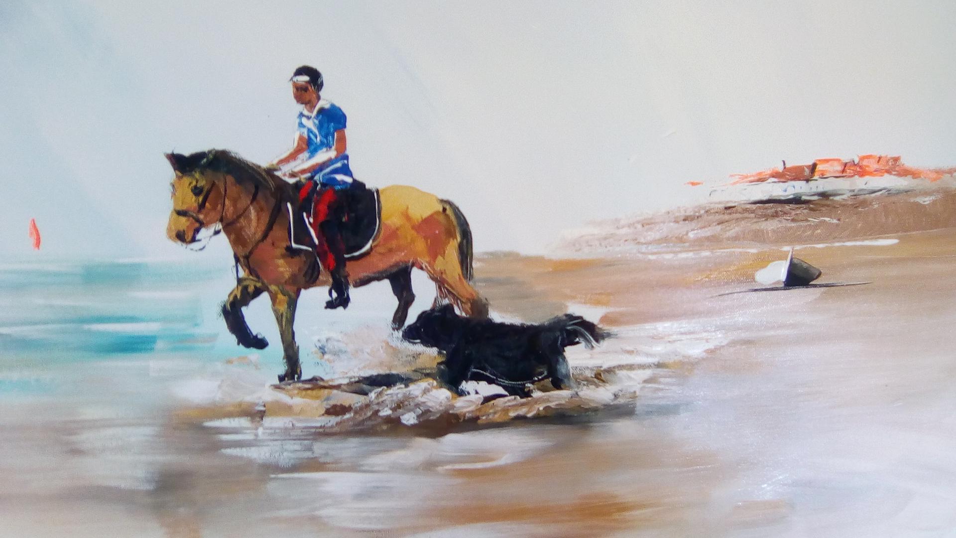 la balade à cheval sur une plage de la côte d'Opâle