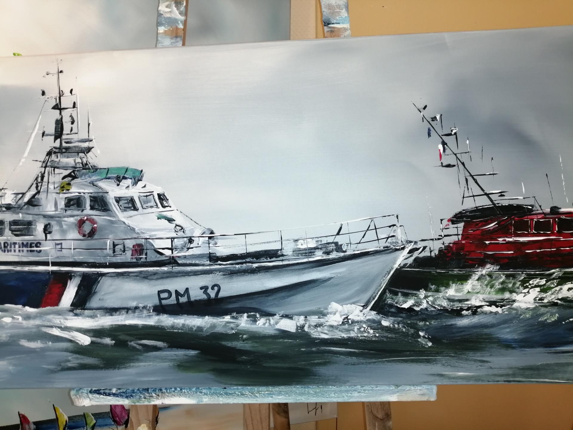 le bateau des affaires maritimes et de la SNSM à Boulogne sur Mer