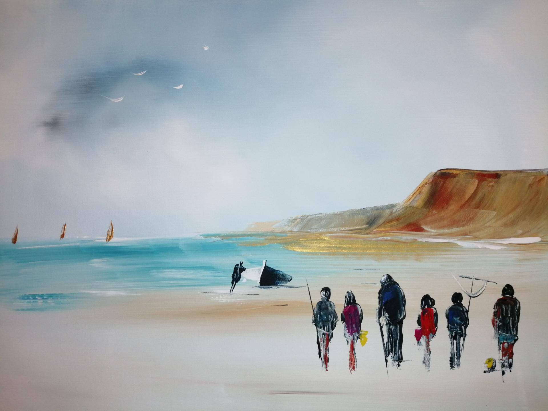 en famille sur une plage de la côte d'opâle