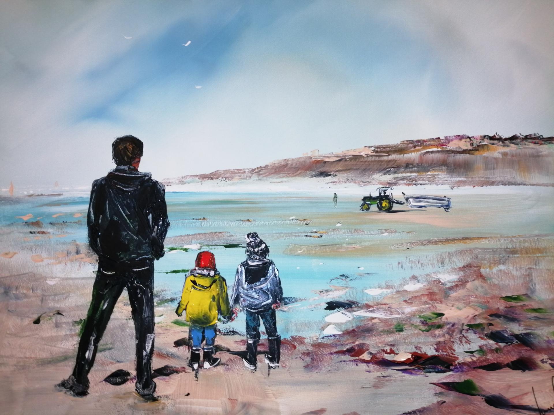En famille sur la plage de wimereux