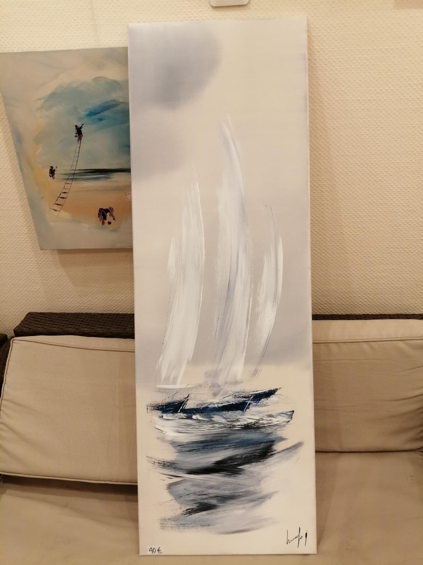 voilier sur fond gris