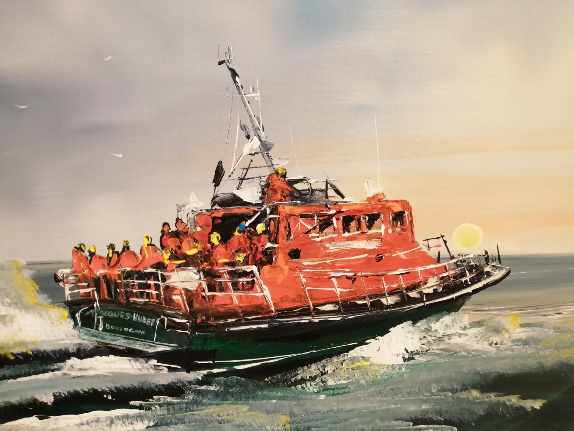 détail du bateau de la snsm de boulogne sur mer