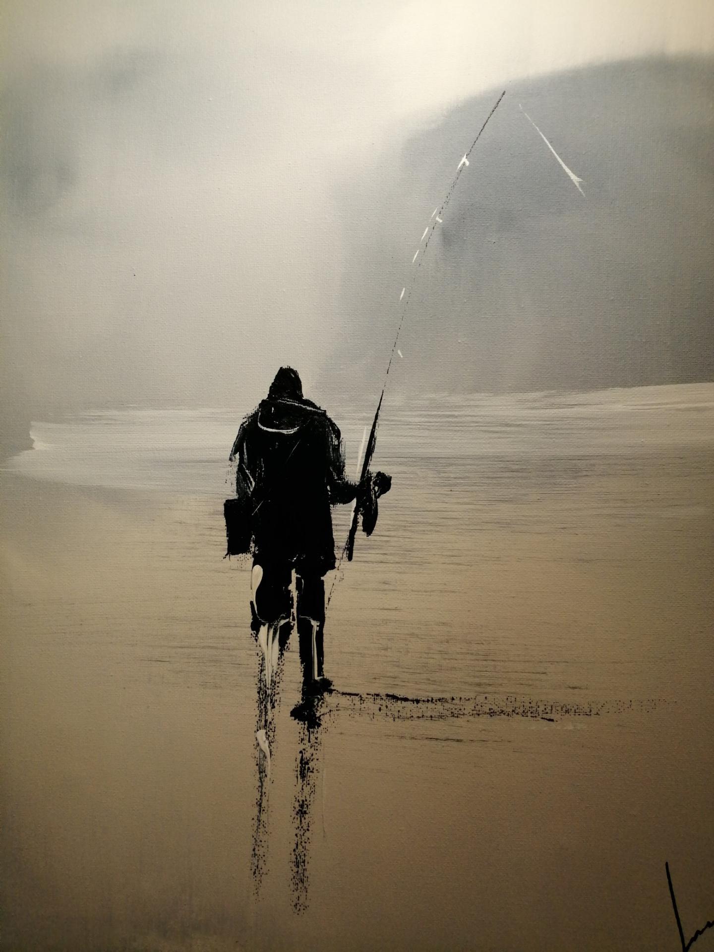 le pêcheur solitaire sur la côte d'OPALE