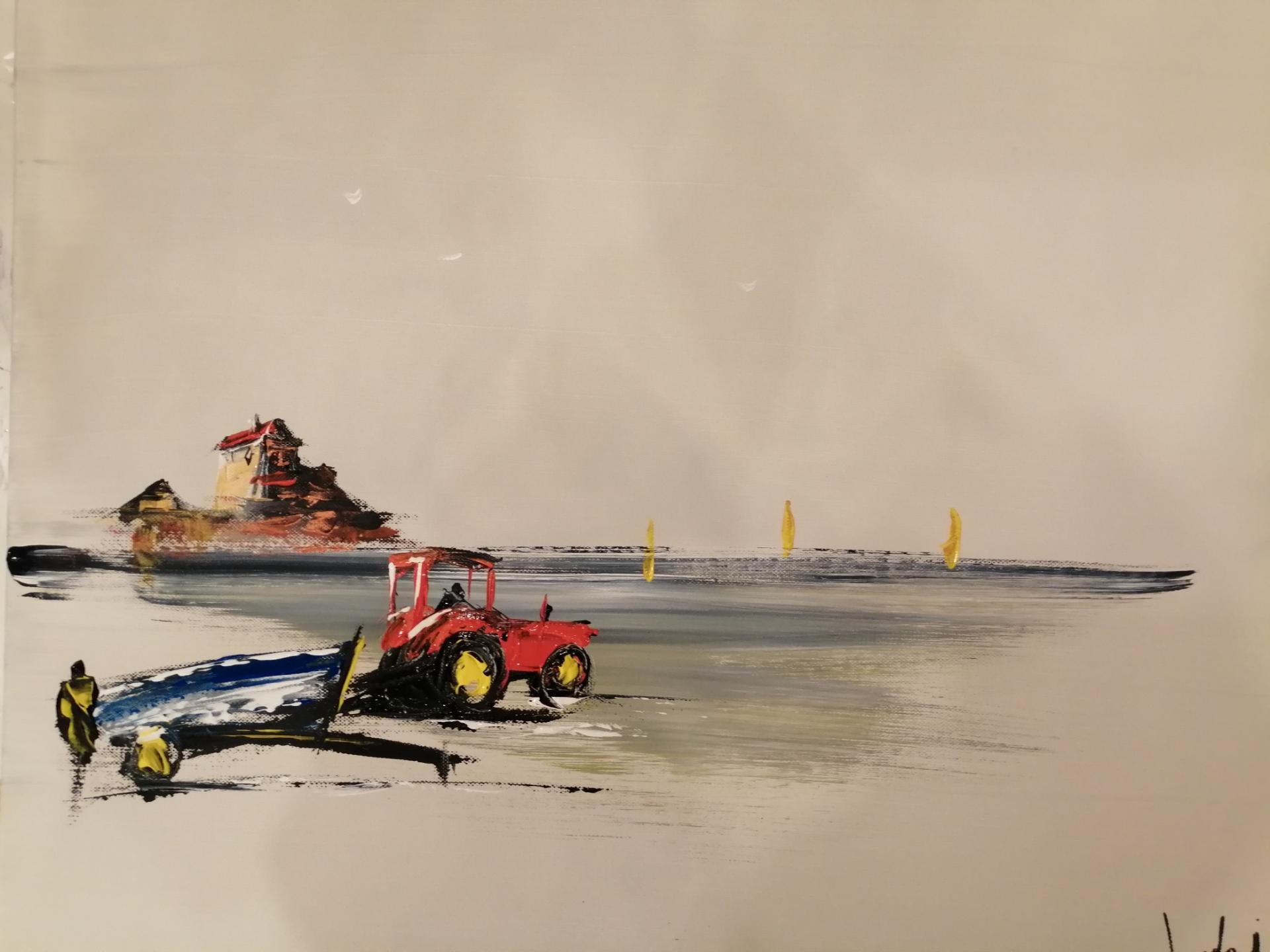 le tracteur apportant le flobart au fort d'Ambleteuse