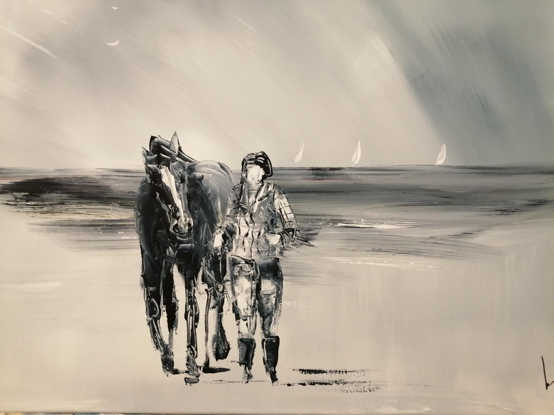 promener son cheval sur une plage de la côte d'Opâle