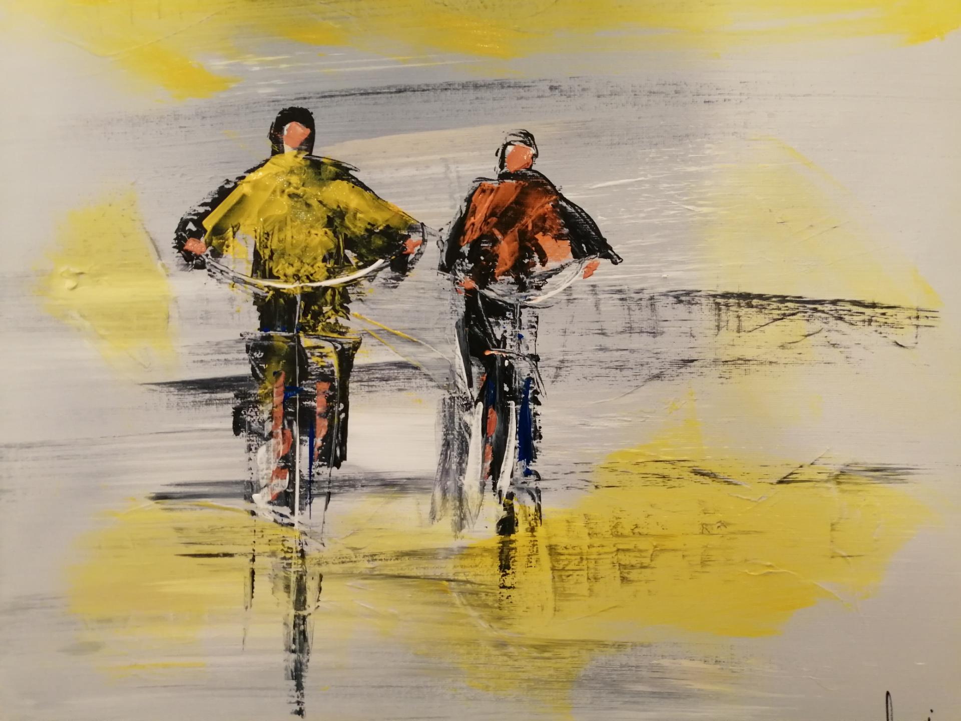 randonnee cycliste sur une  plage de la côte d'Opale