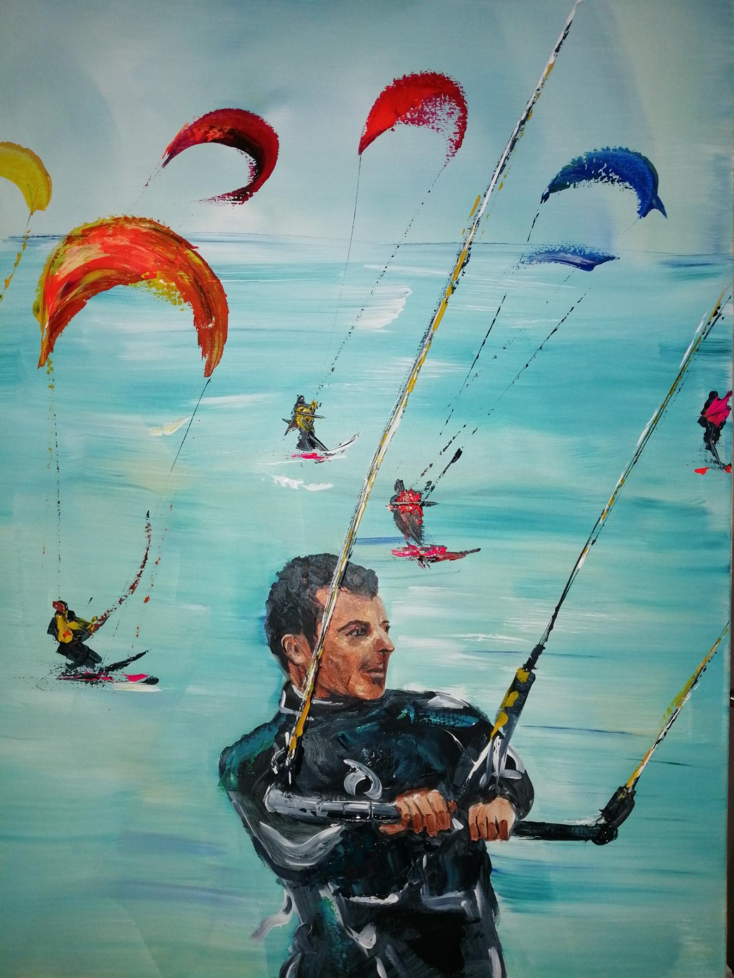 une partie de kite surf