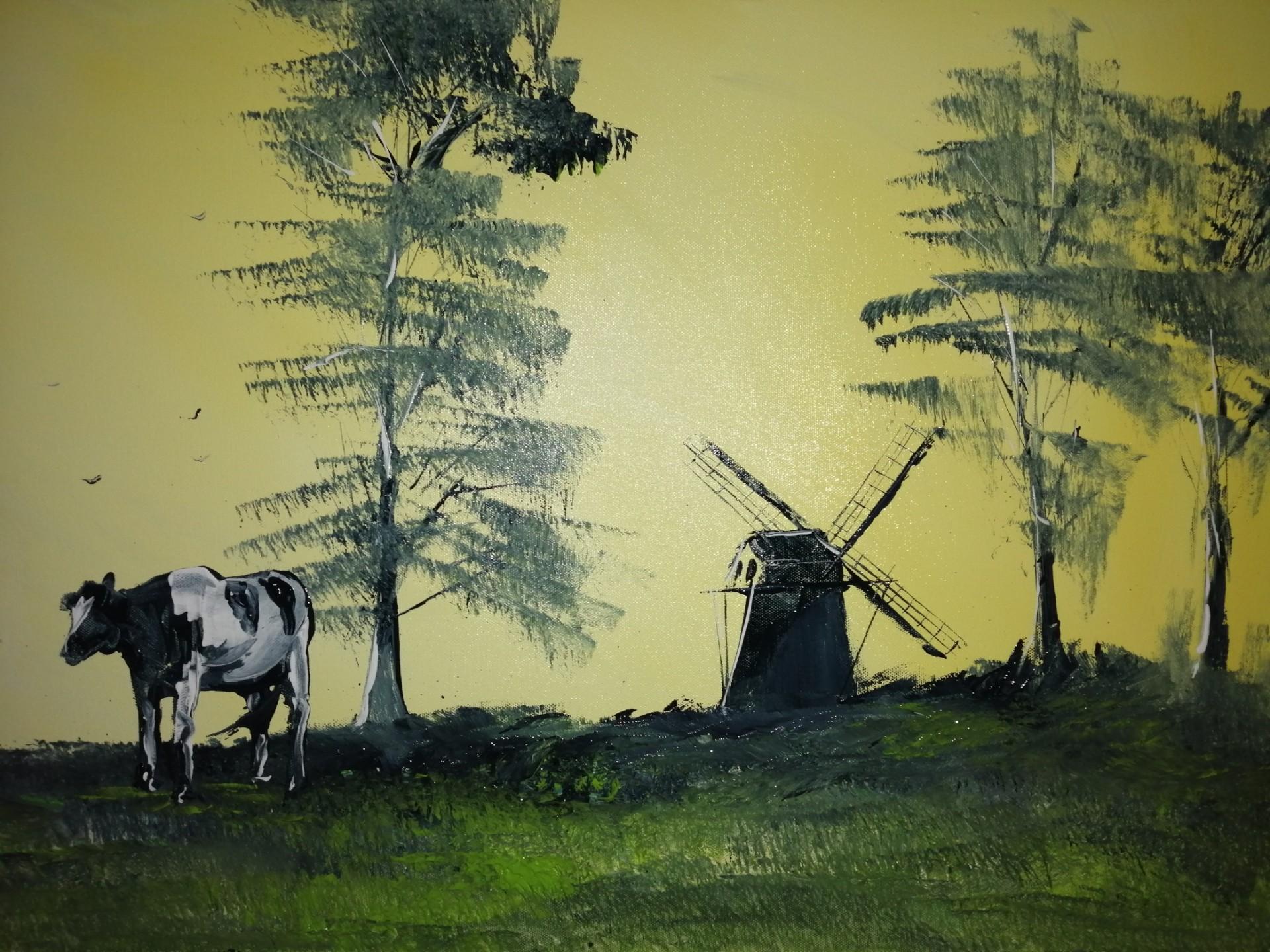 Moulin à vent dans la campagne flamande