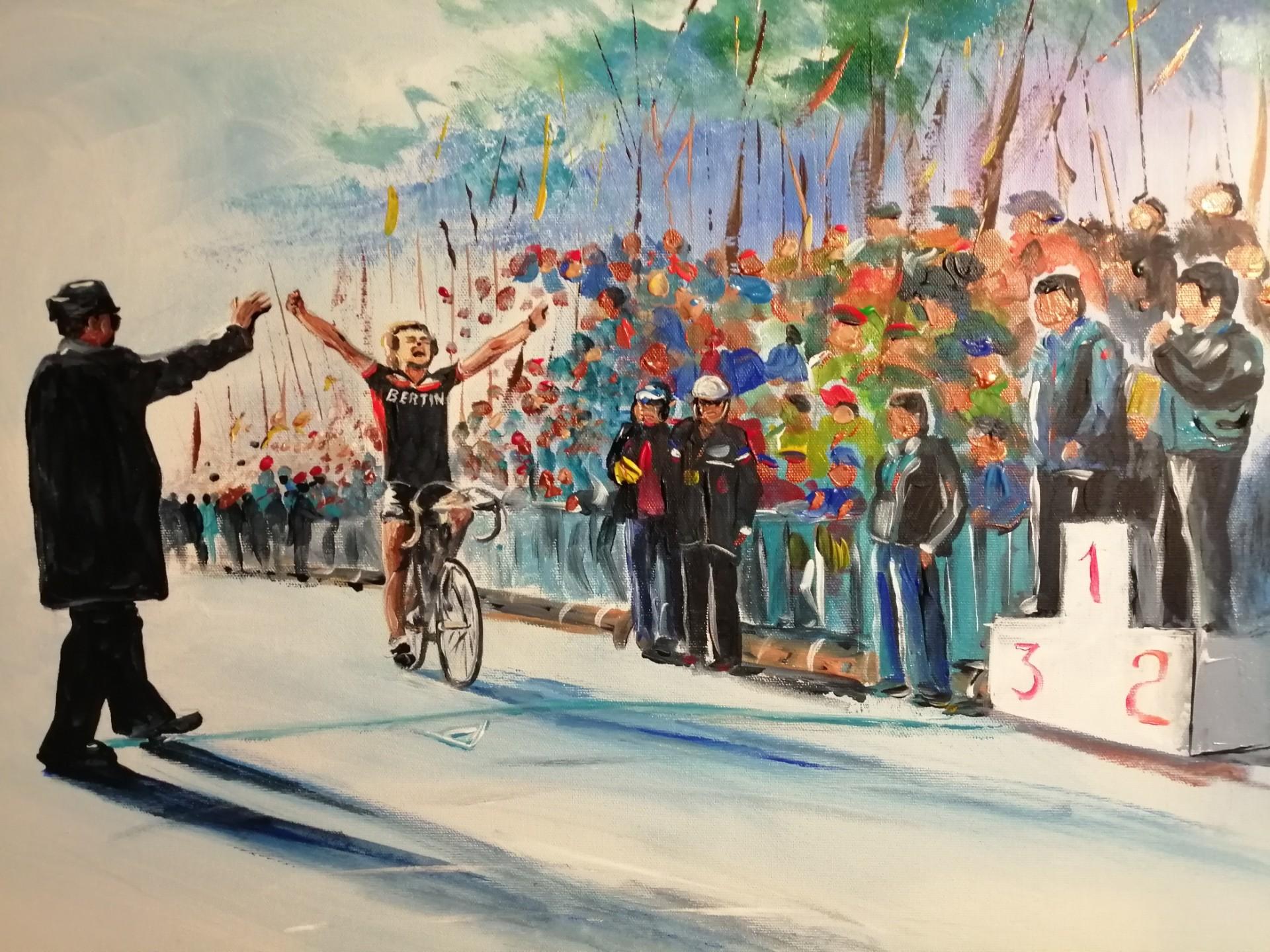Mon ami DENIS CARRU Remportant le championnat des Flandres de cyclo-cross à LIEVIN en 1983