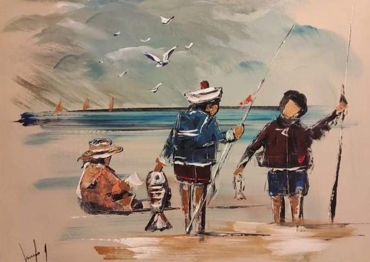 Les enfants sur la plage autrefois 50x70