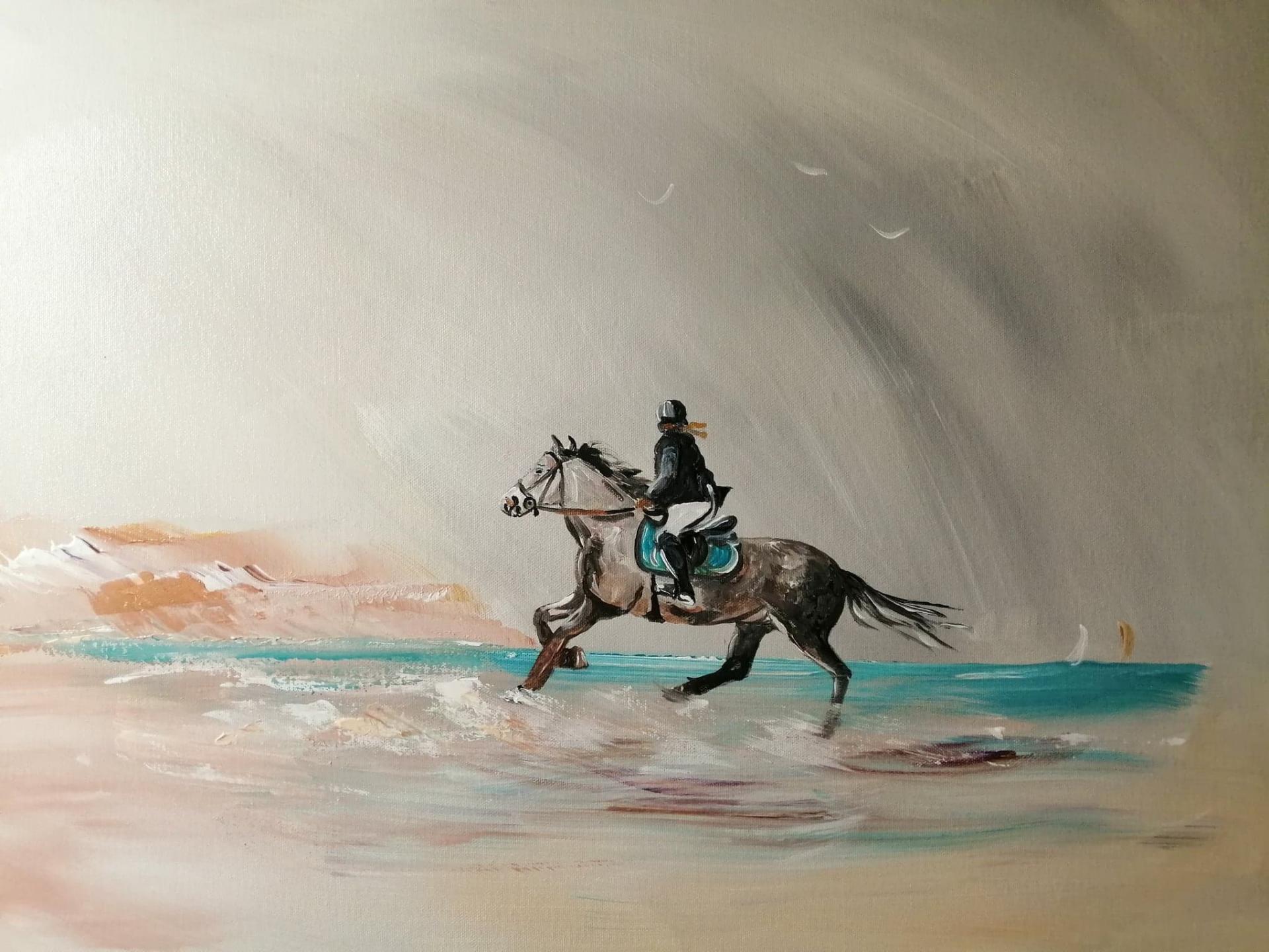 Cavaliere sur la plage 50 x 70