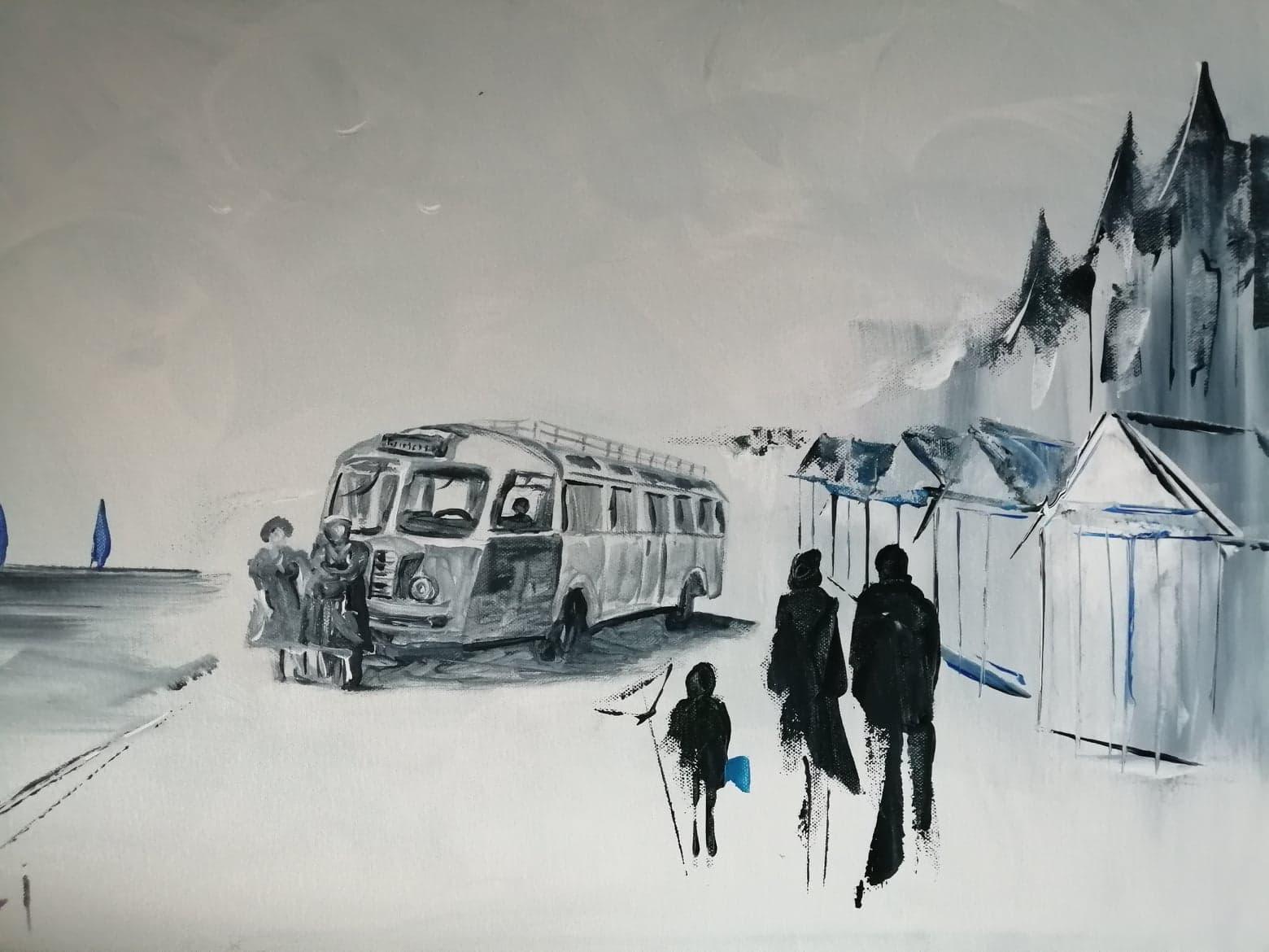 Le bus sur la digue deposant les vacanciers 50 x 70 cm 1